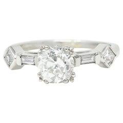 Retro 1.63 Carats Old Mine Diamond Platinum Engagement Ring GIA