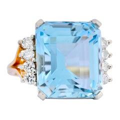 Retro 16.78 Carat Aquamarine Diamond 18 Karat Two-Tone Gold Cocktail Ring