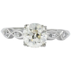 Retro 1.69 Carat Diamond Platinum Geometric Engagement Ring GIA