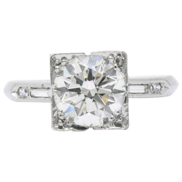 Platinum Engagement Rings Sale Uk: Retro 1.75 CTW Diamond Platinum Engagement Alternative