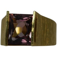 Retro 18 Carat Gold and Tourmaline Solitaire Ring