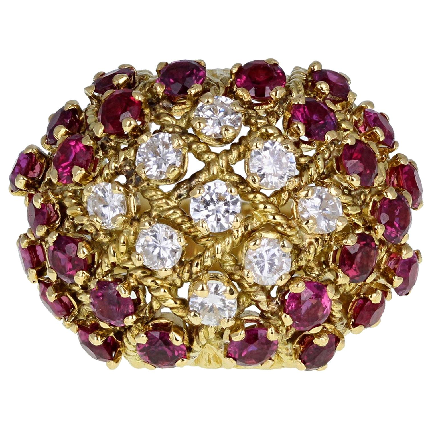 Retro 18 Carat Gold Ruby and Diamond Basket Bombe Cocktail Ring
