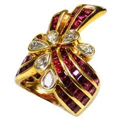 Retro 18 Karat Gold 4 Carat Ruby and Diamond Cocktail Ring, circa 1940