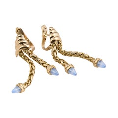 Retro 18 Karat Gold Blue Stones Dangling Earrings