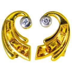 Retro 18 Karat Gold, Fancy Cut Citrine and Diamond Earrings, circa 1950