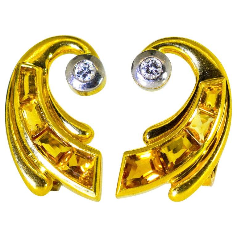 Retro 18 Karat Gold, Fancy Cut Citrine and Diamond Earrings, circa 1950 For Sale
