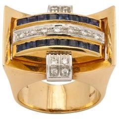 Retro 18 Karat Gold Flip Ring with Sapphire/Diamond and Ruby/Diamond