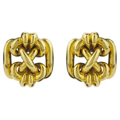 Retro 18 Karat Gold Knot Ear Clips