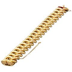 Retro 18 Karat Gold Oval Link Bracelet