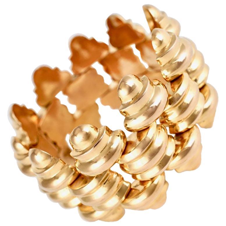 Retro 18 Karat Gold Wide Large Link Bracelet 92.2grms, 1950s