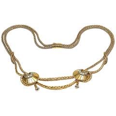 Retro 18 Karat Rose Gold and Diamond Necklace, Paris, circa 1945