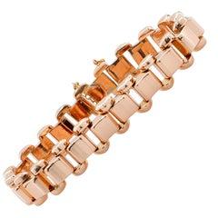 Retro 18 Karat Rose Gold Link Bracelet