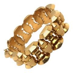 Retro 18 Karat Rose Gold Tank Bracelet, 1940s