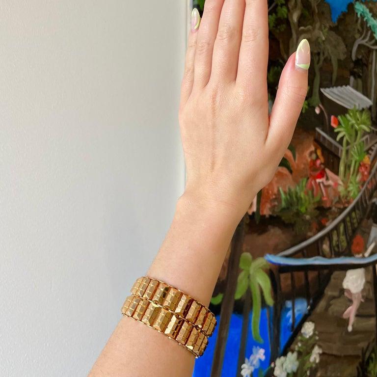 Retro 18 Karat Rose Gold Tank Bracelet In Excellent Condition For Sale In Beverly Hills, CA
