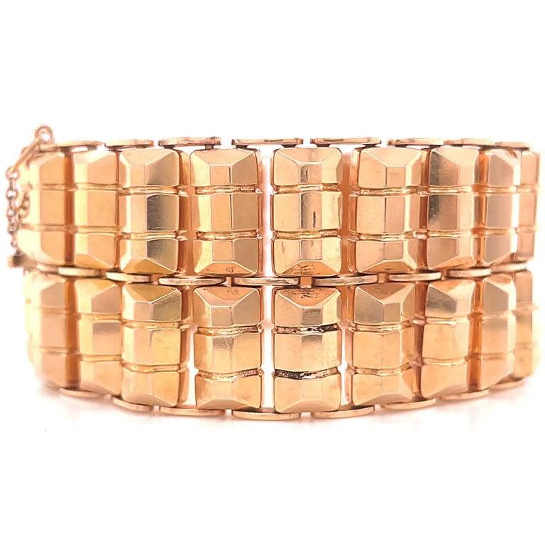 Women's or Men's Retro 18 Karat Rose Gold Tank Bracelet For Sale