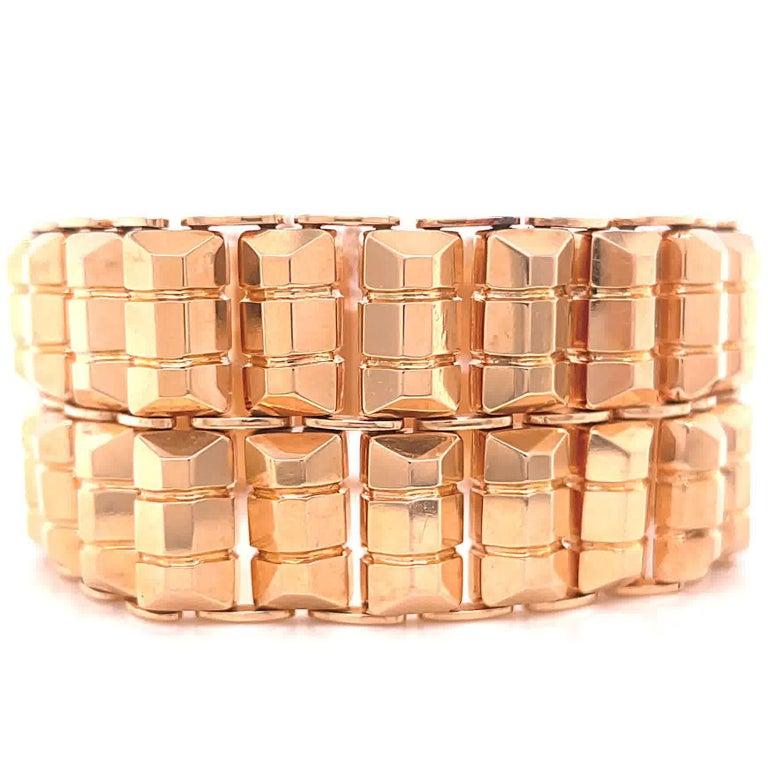 Retro 18 Karat Rose Gold Tank Bracelet For Sale 1