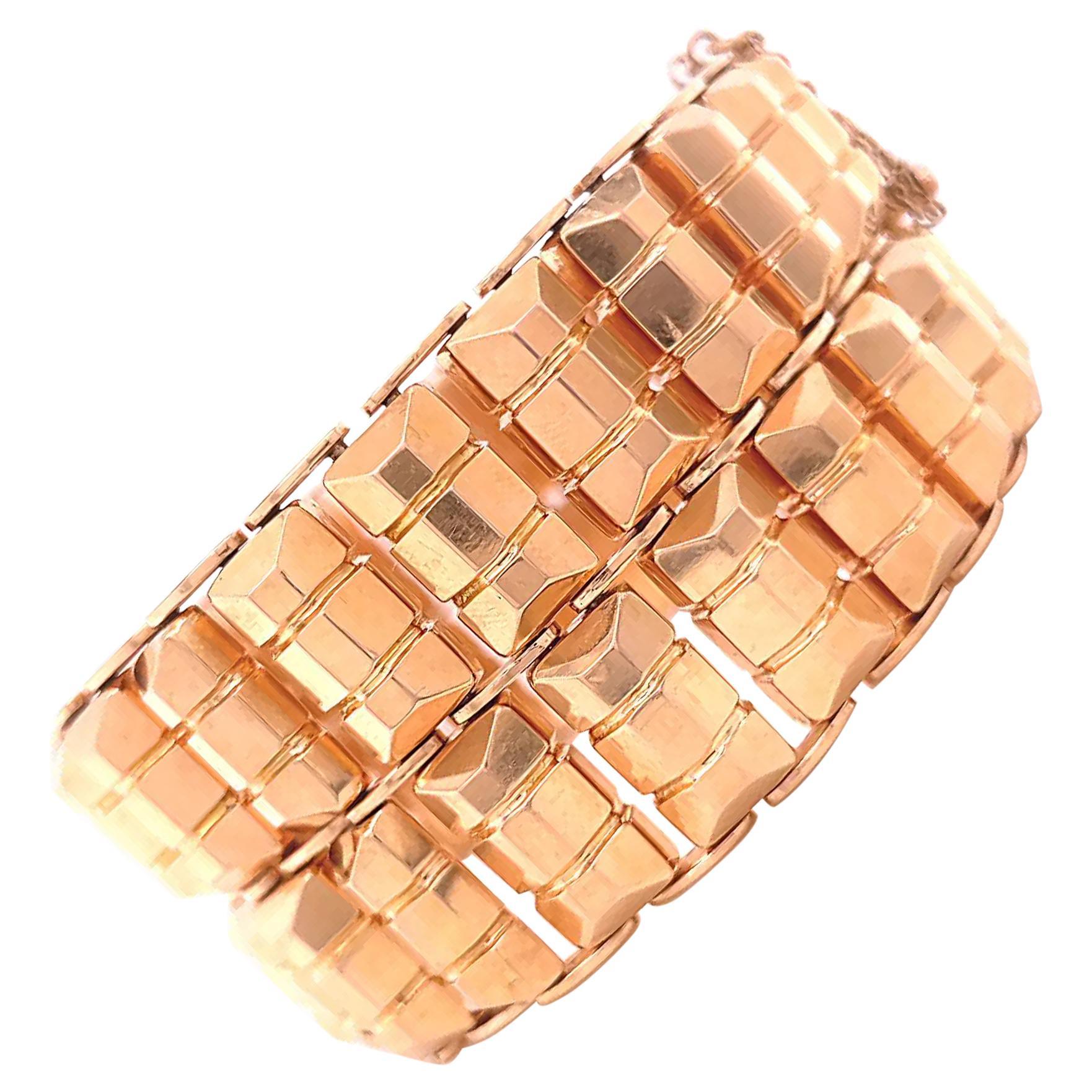 Retro 18 Karat Rose Gold Tank Bracelet