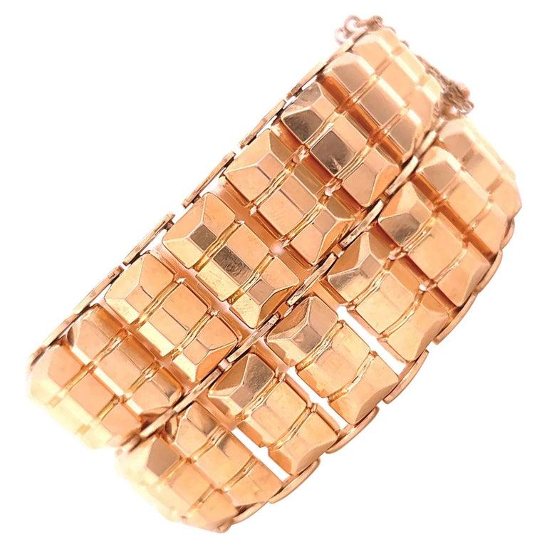 Retro 18 Karat Rose Gold Tank Bracelet For Sale