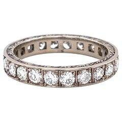 Retro 18 Karat White Gold Diamond Eternity Ring