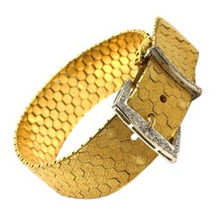 Retro 18 Karat Yellow Gold and 0.32 Carat Diamond Buckle Bracelet, circa 1940