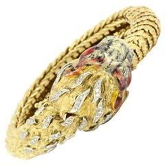 Retro 18 Karat Yellow Gold Diamond and Enamel Lion Head Bracelet