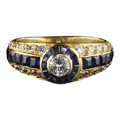 Retro 18 Karat Yellow Gold Diamond and Sapphire Ring