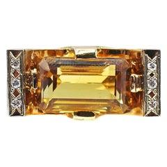 Retro 18 Karat Yellow Gold Diamond Citrine Ring