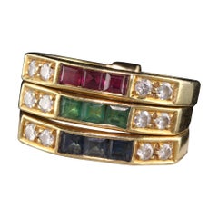 Retro 18 Karat Yellow Gold Diamond, Emerald, Sapphire, and Ruby Harem Ring