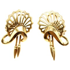 Retro 18 Karat Yellow Gold Earrings