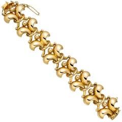 Retro 18 Karat Yellow Gold Fleur-de-Lis Link Bracelet