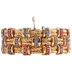 Retro 18 Karat Yellow Gold Ruby and Sapphire Bracelet