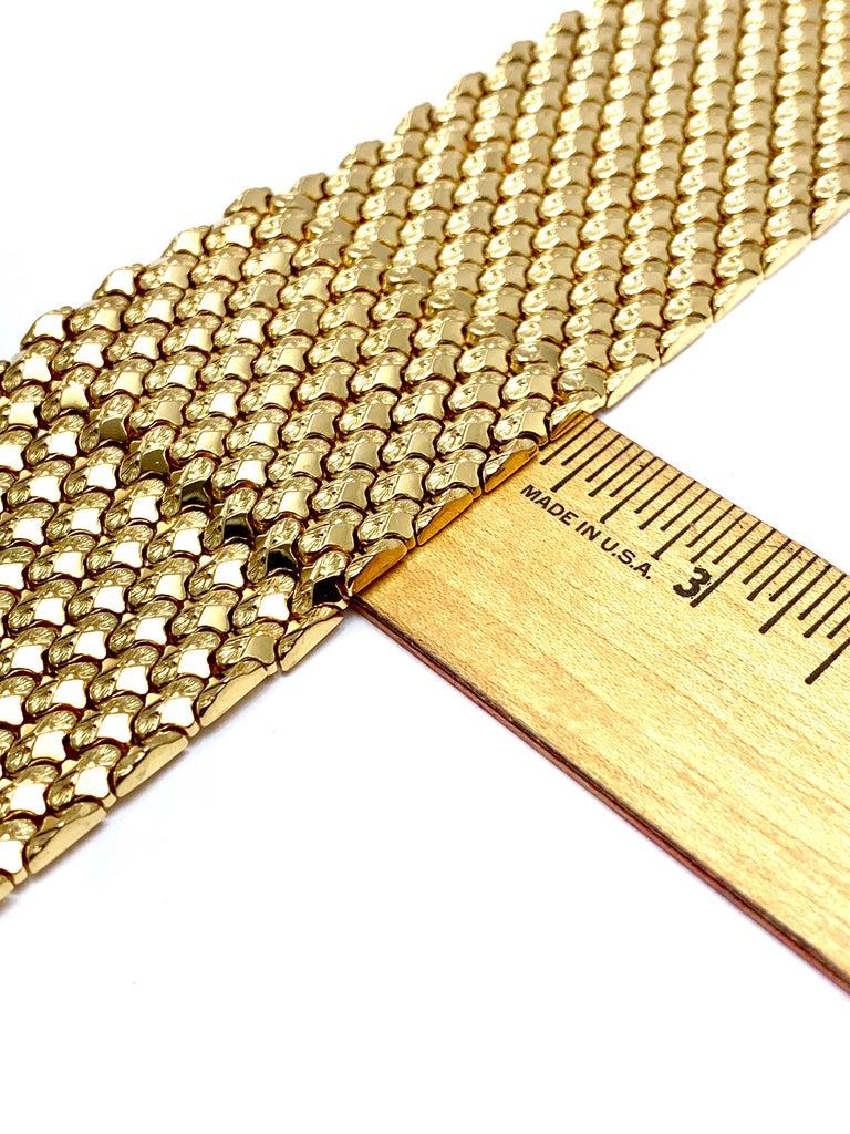 Retro 18 Karat Yellow Gold Wide Link Bracelet For Sale 7