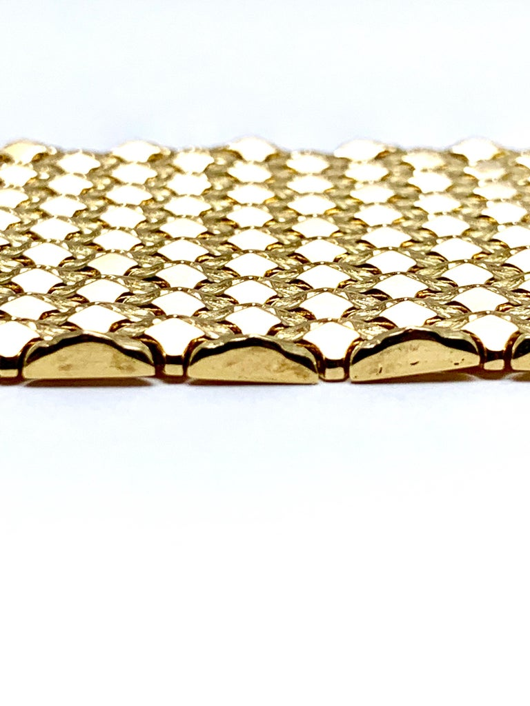 Retro 18 Karat Yellow Gold Wide Link Bracelet For Sale 4