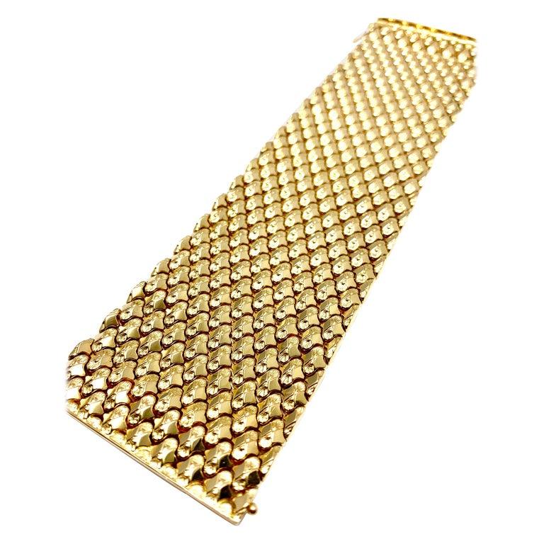 Retro 18 Karat Yellow Gold Wide Link Bracelet For Sale