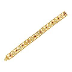 Retro 1.80 Carat Diamond Ruby 14 Karat Gold Heart Bracelet