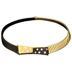 Retro 18 Carat Gold, Black Rhodium and Diamond necklace by Illario, circa 1950s