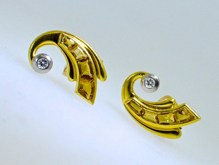 Retro 18 Karat Gold, Fancy Cut Citrine and Diamond Earrings, circa 1950 In Excellent Condition For Sale In Aspen, CO