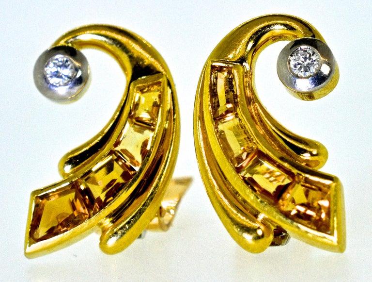 Women's or Men's Retro 18 Karat Gold, Fancy Cut Citrine and Diamond Earrings, circa 1950 For Sale