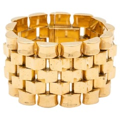 Retro 18 Karat Rose Gold Tank Bracelet, circa 1940s
