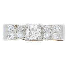 Retro 18 Karat Gold and Platinum and 1.50 Carat Diamond Bow Ring, circa1940s