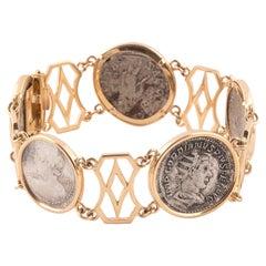 Retro 18kt Gold & Roman Silver Coin Bracelet