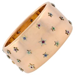 Retro 18 Karat Two-Tone Wide Bracelet with Ruby, Emerald and Sapphire Star Studs