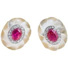 Retro 18 Karat Yellow/White Gold Ruby and Diamond Rock Crystal Oval Earrings