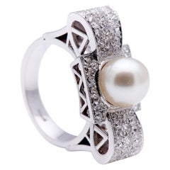 Retro, 1930s, Art Deco, 18ct White Gold, Large Pearl and Diamond Cocktail Ring