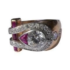 Retro 1940s Asymmetrical Ruby Diamond 18 Karat Rose Gold Platinum Cocktail Ring