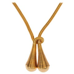 Retro 1940s Coiled Gold Wire Necklace of Lariat Design