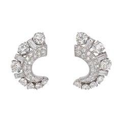 Retro 1940s Diamond and Palladium Clip Earrings of Crescent Shape
