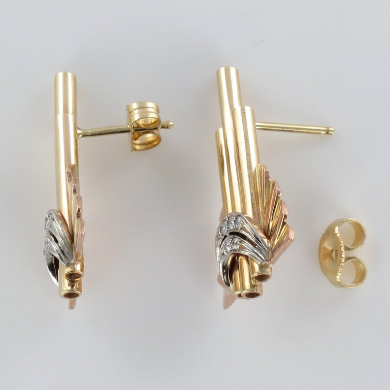 Retro 1940s Diamond Gold Stud Earrings For Sale 4