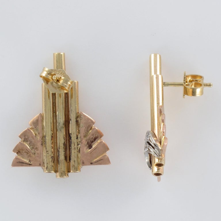 Retro 1940s Diamond Gold Stud Earrings For Sale 5