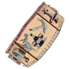 Retro 1940s Diamond Ruby Charm Link Bracelet